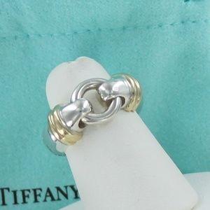 Tiffany & Co. Silver 18K Gold Love Knot Ring sz 5